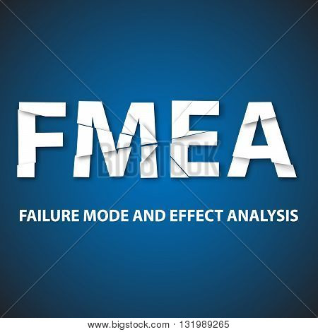 Vector illustration of background FMEA. FMEA is an analytical technique which aims to identify potential sites of defects or faults in systems