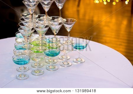 Champaign On Table In Night Party