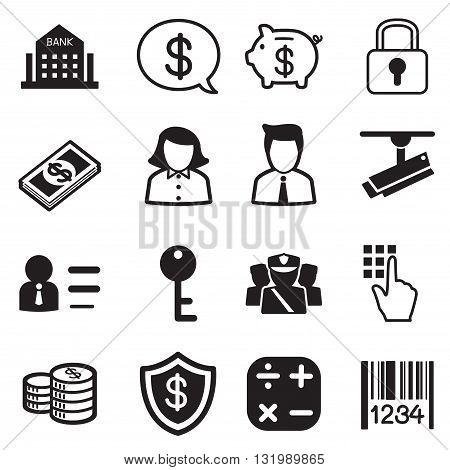 Money finance banking silhouette icons vector set