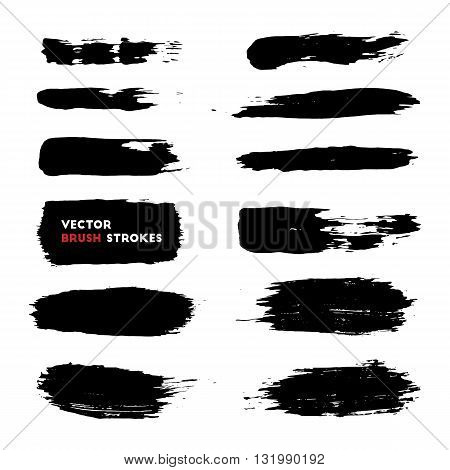 Vector illustration of brush strokes collection. Grunge brushstrokes set. Paint stains. Different grunge black brush strokes over white background for your design