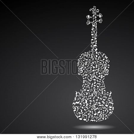Isolated violin made of notes on black background. White notes pattern. Black and white design. Note shape. Poster and decoration idea.