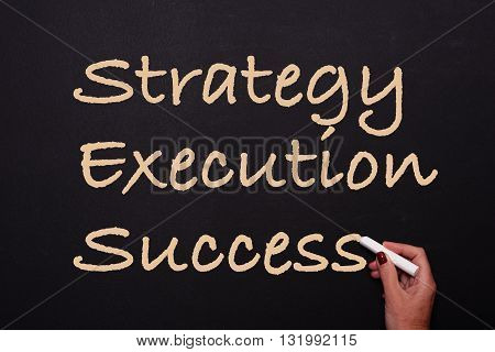 woman is writing on blackboard strategy execution success