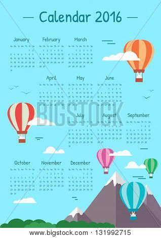 Children with balloons calendar for 2016. Clouds in the blue sky