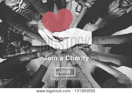 Join Charity Heart Hand Symbol Concept