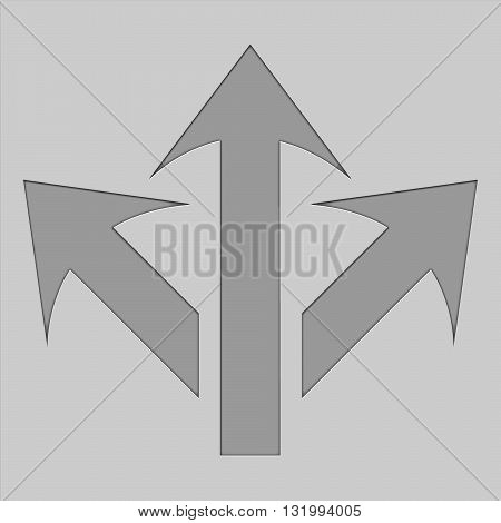 3 side arorw icon. Arrow logo. Arrow design. 3 way arrows.