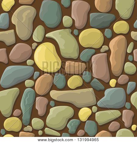 Funny cartoon stones pebbles seamless pattern vector