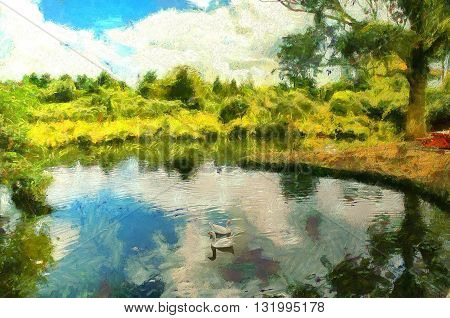 Digital Painting of an Idyllic scene of ducks in a pond surrounded by lush foliage and a sku filled with clouds in the sytle of Monet