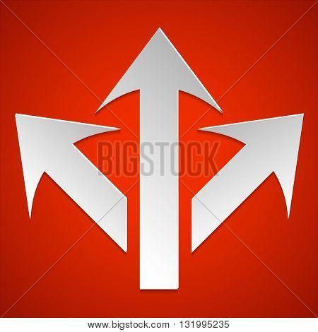 3 side arorw icon vector. Arrow logo. Arrow vector design. 3 way arrows.