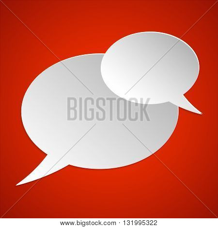 Pictograph of chat bubble. Paper speach bubbles vector icon.