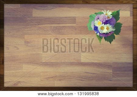 wooden greeting card background with hand-tied bouquet of flowers