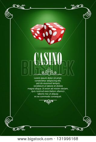 Casino Logo Poster Background or Flyer with Flying Dice. Banner with Casino Logo Badges. Game Cards on Green Canvas. Playing Casino Games. Casino Banner. Casino Games Gambling Template background.