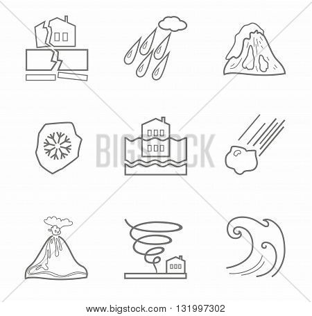 Vector linear icons of natural disasters and cataclysms. Gray image on a white background.