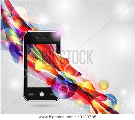 Abstract model of the mobile with colorful abstract flow poster