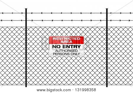 Fence With Barbed Wire And Sign No Entry