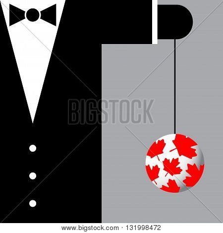 black suit with the symbols of Canada - black bow tie and yoyo with red maple leafs