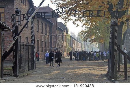 Auschwitz, Poland - October 30, 2015: people are visiting memorial and museum Auschwitz I Poland