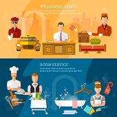 Hotel service banners hotel staff reception reservation cleaning concierge taxi driver vector illustration poster