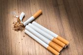 stop smoking Tobacco tear cigarette detrimental on wood background and space for add text above select focus front cigarette (Open light cigarettes) poster
