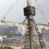 Mast and Rigging of the Santa Maria de Colombo in the harbor of Funchal on Madeira poster