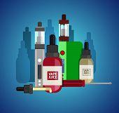 Vape device vector set. Vaping juice for vape. Vape trend new culture. Vape smoking. Vapor vaping. Vape vector sign. poster