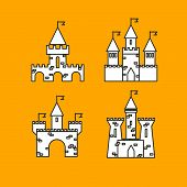 Castle vector set. Castle tower vector logo. Castle turret with flag. History castle architecture illustration. Princess castle sign. Castle behind the wall. poster