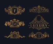 Vintage gold logo Elements. Flourishes Calligraphic Ornament. Elegant emblem monogram luxury logo. Floral royal line logo design. Vector sign, logo restaurant boutique, heraldic fashion, cafe hotel poster