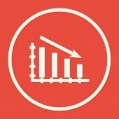Stats Down Icon In Vector Format. Premium Quality Stats Down Symbol. Web Graphic Stats Down Sign On Red Background. poster