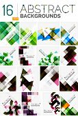 Collection of abstract backgrounds - repetition of multicolored transparent squares and swirl lines, geometric pattern set. Colorful geometric universal templates, bright unusual banner designs, text poster