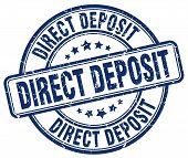 direct deposit blue grunge round vintage rubber stamp.direct deposit stamp.direct deposit round stamp.direct deposit grunge stamp.direct deposit.direct deposit vintage stamp. poster