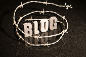Conceptual or abstract illustration of restricted freedom of speech on blog such as censorship oppression or blacklist. poster