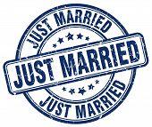 just married blue grunge round vintage rubber stamp.just married stamp.just married round stamp.just married grunge stamp.just married.just married vintage stamp. poster
