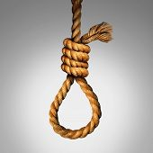 Suicide Noose concept as a rope in a lasso slipknot as a symbol for death or justice punishment or execution or as a psychology metaphor for desperate pain and despair as a photo realistic illustration. poster