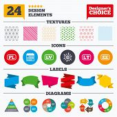 Banner tags, stickers and chart graph. Language icons. PL, LV, LT and EE translation symbols. Poland, Latvia, Lithuania and Estonia languages. Linear patterns and textures. poster
