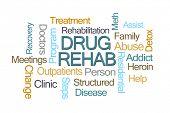 Drug Rehab Word Cloud on White Background poster