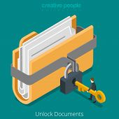 Unlock folder secure data file document with lock key icon. Flat 3d isometry isometric web vector illustration. poster