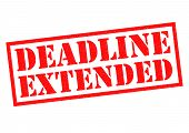 DEADLINE EXTENDED red Rubber Stamp over a white background. poster