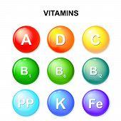 button with vitamins. Set. Ascorbic acid (vitamin C) Retinol (vitamin A) Cholecalciferol (vitamin D3) Tocopherols (vitamin E) and vitamins B complex poster
