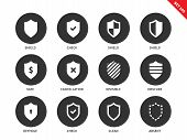 Shield vector icons set. Protection and antivirus concept. Security and safety system icons, check, shield, safe, invisible, obscure, clean, absent. Isolated on white background poster