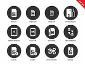 Sim card vector icons set. Technology and telecommunication items, different types of sim card, mini, macro, nano, standard, tablet with sim, deactivation, damage. Isolated on white background poster