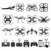 Set of aerial drone footage emblems. Vector Illustration poster