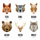Low polygon animal logos. Triangular geometric animals logo set. Bear low polygon logo, deer low polygon logo, fox low polygon logo, boar and wolf low polygon logo. Vector illustration poster