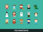 Set of different pixel characters. Medic police man astronaut bodyguard mexican guy yeti dinosaur monster and other poster