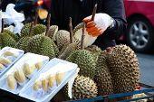 Jackfruit on the street market. Jack fruit and a stallholder. Jackfruit on the fruit stall. Fresh jack fruit. poster