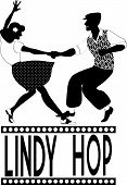 Young couple dressed in late 1940s style clothes dancing lindy hop, black vector silhouette, no white poster