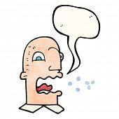 freehand speech bubble textured cartoon burping man poster