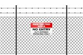 Fence with barbed wire and sign NO ENTRY. Isolated wire fence - RESTRICTED AREA sign. Metal sign RESTRICTED AREA - NO ENTRY on metal fence with barbed wire. Wire fence isolated on white. Vector illustration. poster