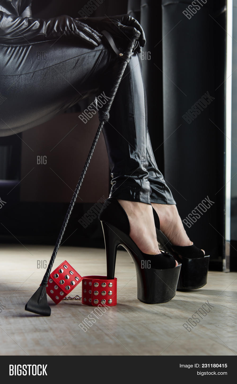 Sexy Shoes And Other Toys For Love Bdsm Games. High Heel, Leather Whip And