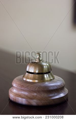 Service Bell In A Hotel Reception For Concierge Alarm On Desk