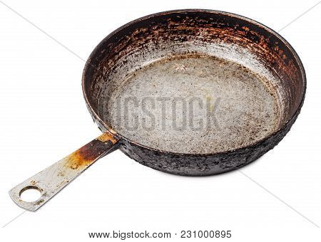 Empty Old Cast Iron Frying Pan Isolated On White Background