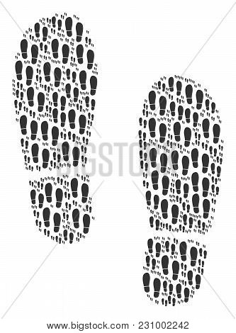 Boot Footprints Pattern Created In The Set Of Boot Footprints Elements. Vector Iconized Collage Cons